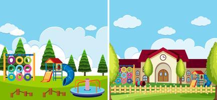 Zwei Spielplatzszenen im Park und in der Schule