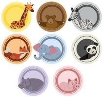 Etikettmallar med vilda djur vektor