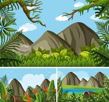 Tre bakgrundsscenarier med berg och skog
