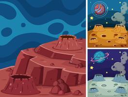 Tre scener av planeter i mörkt utrymme