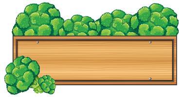 Holzschild mit Brokkoli an der Spitze