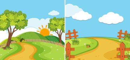 Två landskap scener med väg och fält