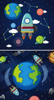 Två scener av jord och rymdskepp i rymden
