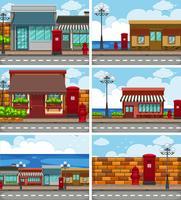 Sechs Szenen mit Geschäften entlang der Straße