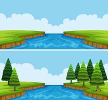 Två scener av flod med träd och fält