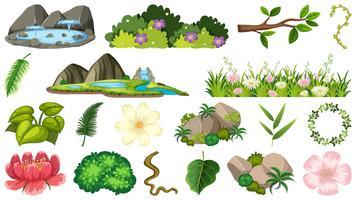 Set av prydnadsväxter vektor