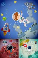 Rymdscener med astronauter och rymdskepp vektor