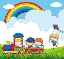 Kinder, die Zug im Park reiten vektor