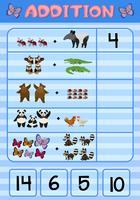 Zusatzarbeitsblatt mit wilden Tieren vektor