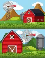 Två gårdscener med röd ladugård