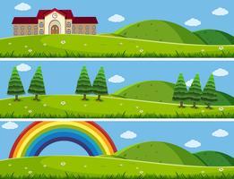 Tre bakgrundsscenarier med grön gräsmatta