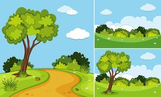 Drei Szenen mit Bäumen und Gras