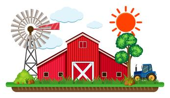 Scen med röd ladugård och blå traktor