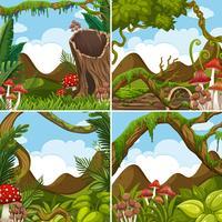 Vier Szenen mit Pflanzen im Wald