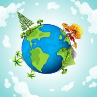 Blå planet med träd och berg