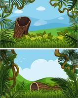 Zwei Hintergrundszenen mit Pflanzen auf den Hügeln