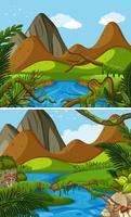 Zwei Bergszenen mit Fluss vektor
