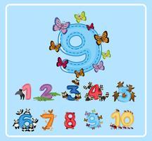 Flashcard design för nummer nio med fjärilar