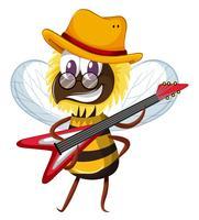 Nette Biene, die elektronische Gitarre spielt