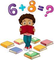 Junge, der Matheproblem löst vektor