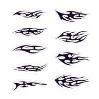 Stammes-Tatto-Sammlungssatz. Flamme tatoo Totem vektorabbildungauslegung