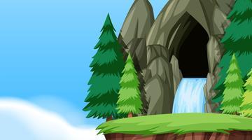 Ett naturvattengrotta landskap
