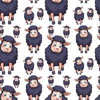 Nahtloses Hintergrunddesign mit schwarzen Schafen