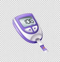 Diabetes testor kit på transparent bakgrund