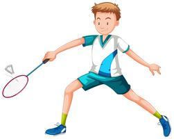 Mann, der Tennisweißhintergrund spielt