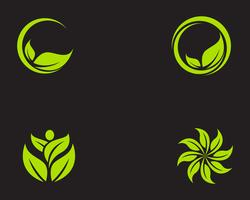 Blattökologie-Naturelement-Vektorikone der Logos grüne vektor