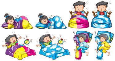 Bedtime för pojke och tjej vektor