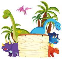 Netter Dinosaurier auf hölzernem Brett vektor