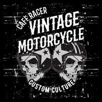 vintage grunge stil skalle bär hjälm handrit vektor