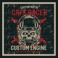 vintage grunge stil skalle bär hjälm och text cafe racer handrit vektor