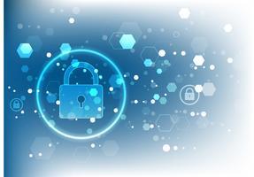 Cyber säkerhetskoncept. Sköld Med nyckelhål ikon på digital data bakgrund.