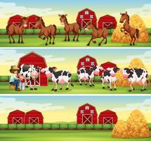 Scener i gården med jordbrukare och djur vektor