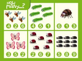 Arbeitsblatt für mathematische Insektennummern vektor