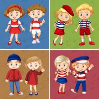 Glückliche Kinder auf vier verschiedenen Hintergrund vektor