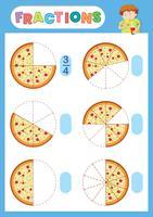 Ein Arbeitsblatt für mathematische Brüche vektor
