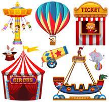 Set von Zirkusgegenständen