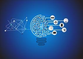 Innovative Ideen des Konzeptes eine Erfindung, kreative Glühlampeidee steigern Wahlen, Schablone des modernen Designs der Vektorillustration. vektor
