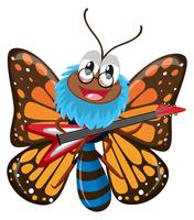 Schmetterling, der E-Gitarre spielt vektor