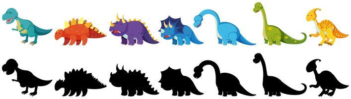 uppsättning svarta och färgade dinosaurier vektor