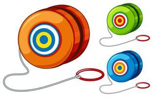 Yoyo i tre olika färger