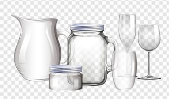 Olika typer av behållare gjorda av glas