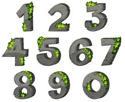 Schriftdesign für Zahlen mit Felsen und Blättern vektor