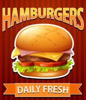 Plakat mit Cheeseburgern auf rotem Hintergrund
