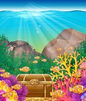 Fisch und Brust unter dem Ozean vektor