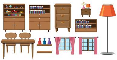 Set med hemmamöbler samling vektor