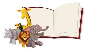 Wilde Tiere offenes Buch Vorlage vektor